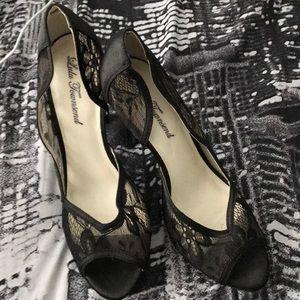 Lulu Townsend Black Lace Heels